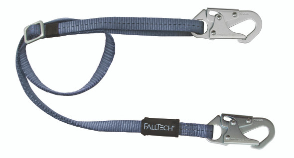 Adjustable Length Restraint Lanyard with Steel Snap Hooks - 4' to 6'
