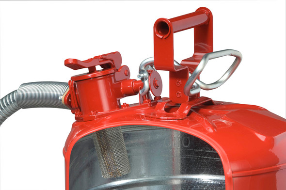 Type II AccuFlow™ Steel Safety Can - 5 Gallon RED/GAS Cutaway