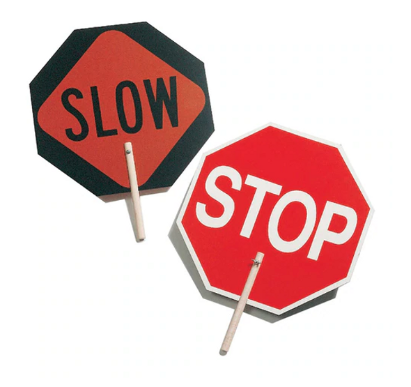 """Stop/Slow Sign - 10"""" Wood Handle"""