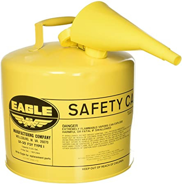 Type I Safety Can with F-15 Funnel, Yellow - 5 Gallon