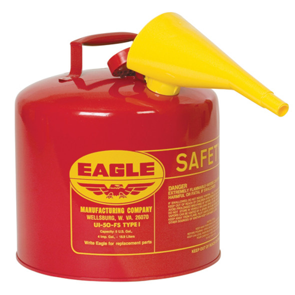 Type I Safety Can with F-15 Funnel, Red - 5 Gallon
