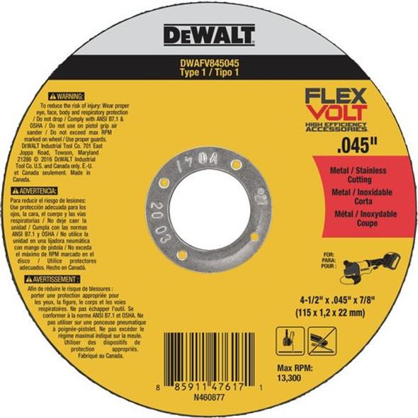 """4-1/2"""" x .045"""" x 7/8"""" Flexvolt® Metal Cutting Wheel, Type 1"""