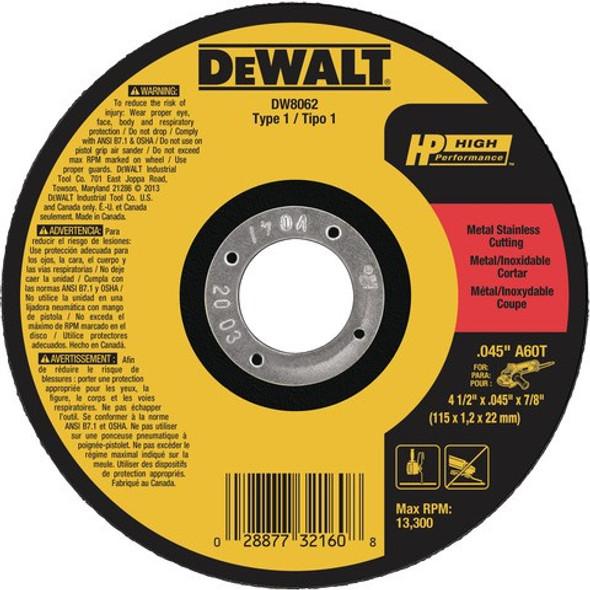 """4-1/2"""" x .045"""" x 7/8"""" Metal/Stainless Cutting Wheel, Type 1"""