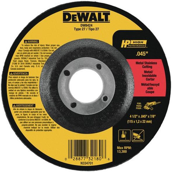 """4-1/2"""" x .045"""" x 7/8"""" Metal/Stainless Cutting Wheel, Type 27"""