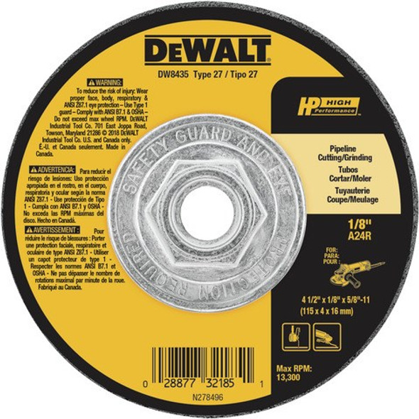 "4-1/2"" x 1/8"" x 5/8""-11 Pipeline Cutting/Grinding Wheel, Type 27"