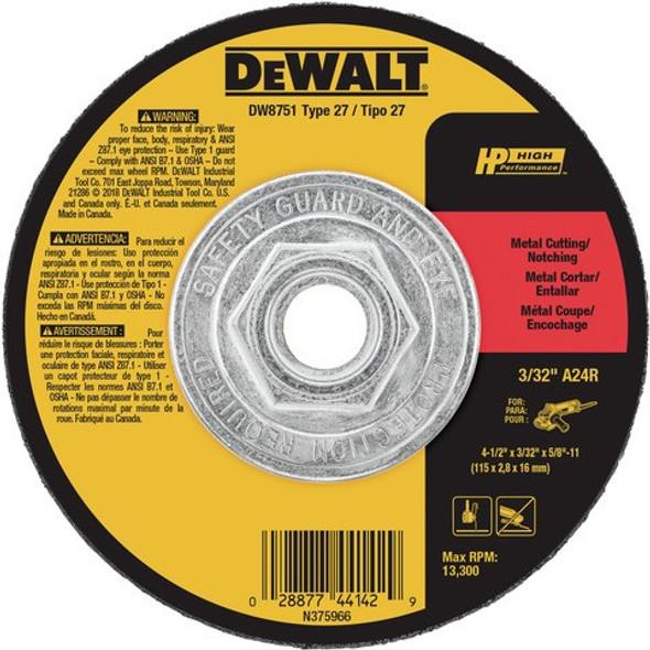 """4-1/2"""" x 3/32"""" x 5/8""""-11 Metal Cutting Wheel, Type 27"""