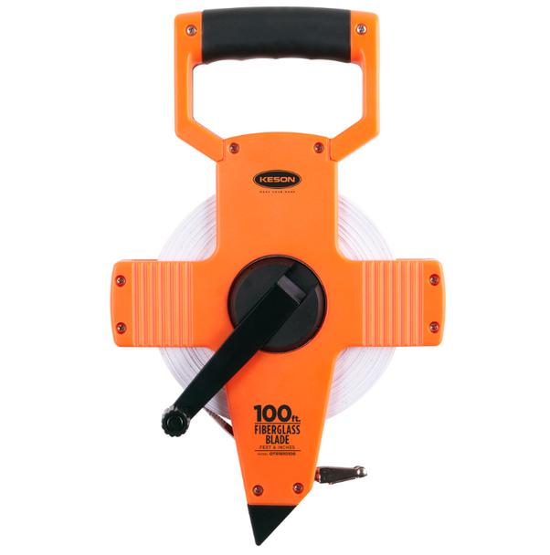 Fiberglass Tape Measure w/ Hook - Open Type Reel -100 ft