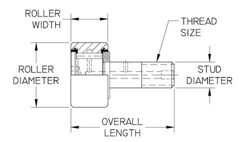 "Smith Bearing 1//2/"" Cam Follower Needle Roller Bearing Heavy Stud HR-1//2-XB"