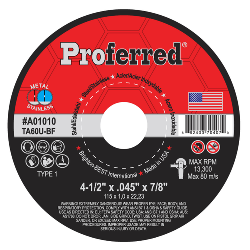 "Type 1 Chop Saw Wheel, Proferred A01030, 14"" Diameter, 46 Grit"
