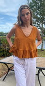 """Target Item #82102655 Women's Peplum Tank Top """"I am 5'9"""" and I wear a 34B bra size. I am 27"""" at the waist and 37"""" around the hips. this is a cute little top for summer. love the rusty color, it's gives summer/spring vibes. it can go with so many different things and can easily be dressed up or down. i wore it with white jeans for an easy effortless look. this is a size medium and is a little bit big so i would say to size down. would be great shirt to have in all different colors.. This item does not have pockets. I received an incentive to write this review. Hope it helps you!"""" Shop this item at https://www.target.com/"""