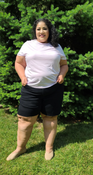 """Target Item #81828459 Women's Plus Size Bermuda Jean Shorts """"I am 5'6"""" and I wear a 48G bra size. I am 48"""" at the waist and 60"""" around the hips. normally i'm not a shorts wearing girl but these black denim bermuda shorts feel and fits amazing. love the distressed fringe look of the hem on these. they are totally comfortable! . This item has pockets. I received an incentive to write this review. But this is my honest review. Hope it helps!"""" Shop this item at https://www.target.com/"""