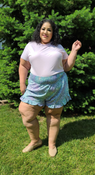 """Target Item #82567657 Women's Ruffle Pull-On Shorts  """"I am 5'6"""" and I wear a 48G bra size. I am 48"""" at the waist and 60"""" around the hips. omg! how cute are these fun printed shorts! my favorite part is the ruffle hem on these. they have a longer length which i like and they feel so cozy on. so many colors and prints in these shorts will give a lot of options to wear with different tops.. This item does not have pockets. I received an incentive to write this review. I hope this helps. Happy shopping!"""" Shop this item at https://www.target.com/"""