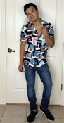 """Target Item #81958602 Men's Regular Fit Short Sleeve Button-Down Shirt  """"I am 5'7"""" and I have a 36"""" chest. I am 29"""" at the waist and 36"""" around the hips. ive never been a retro shirt type of guy but i do love this shirt. its very slick as far as design and feeling of the material. it kinda gives you the rockstar feel you've always dreamed of. this is because the shirt is edgy but it works. very stylish. it like a bruno mars type of feel.. This item does not have pockets. I received an incentive to write this review. Hope it helps you!"""" Shop this item at https://www.target.com/"""