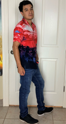 """Target Item #81958619 Men's Regular Fit Printed Button-Down Shirt  """"I am 5'7"""" and I have a 36"""" chest. I am 29"""" at the waist and 36"""" around the hips. i would wear this to the club and going out. it is a very cool shirt when you put it on you transform into a little bit of a rockstar. i would deffinatly purchase this shirt . the material is very slick and slides off your skin. the design and style of this shirt is amazing.. This item does not have pockets. I received an incentive to write this review. Hope it helps you!"""" Shop this item at https://www.target.com/"""