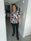 """Target Item #81958602 Men's Regular Fit Short Sleeve Button-Down Shirt. """"I am 6'1"""" and I have a 42"""" chest. I am 35"""" at the waist and 40"""" around the hips. This 100% rayon material, hawaiian tshirt is one of the best purchases ever! I actually thought the price was wrong. It is so comfortable and actually slimming. I put it on and looked 10 pounds thinner. The happy face, fireworks, flamingo designs are festive, fun, and definitely put you in a summer mood!! I love the color combinations. I felt casual yet dressed up at the same time! This item does not have pockets. I received an incentive to write this review. Hope it helps you!"""" Shop this item at https://www.target.com/"""