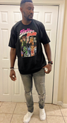 """Target Item #82705465 Men's JoJo's Bizarre Adventure Short Sleeve Graphic T-Shirt """"I am 6'4"""" and I have a 41"""" chest. I am 35"""" at the waist and 41"""" around the hips. i ordered this in a size l but it fits more like an xl. i like my clothes to hug the body. it has a cool design and material is pretty great but because of the fit i will be returning this item to get it in a smaller size. i will be wearing it around the house or going out running errands!. This item does not have pockets. I received an incentive to write this review. I hope this helps. Happy shopping!"""" Shop this item at https://www.target.com/"""