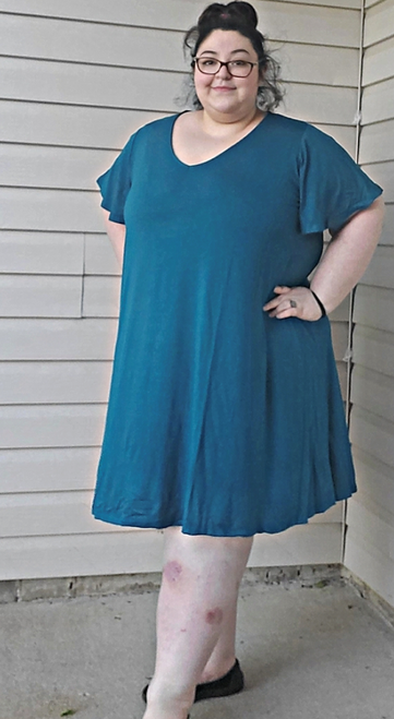 """Target Item #82026878 Women's Plus Size Flutter Sleeve Knit Dress  I am 5'3"""" and I wear a 48G bra size. I am 55"""" at the waist and 60"""" around the hips. really cute teal knit dress. i loved the color and its look on me but i felt it's a little big on me. so will be getting one size down! although it is really comfortable and the material was super soft. i will also style it with a belt and a pair of wedges for a cute summer look. great staple dress to have!. This item does not have pockets. I received an incentive to write this review. But this is my honest review. Hope it helps! Shop this item at https://www.target.com/"""