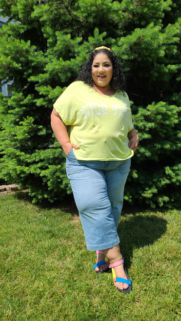 """Target Item #82102249 Women's Good Vibes Short Sleeve Cropped Graphic T-Shirt  """"I am 5'6"""" and I wear a 48G bra size. I am 48"""" at the waist and 60"""" around the hips. feeling good and rocking vibes with this neon t-shirt. it's totally cozy and comfy.i really like its boxy style. would be great with shorts and flipflops for a walk on the beach or style it with jeans and sandals like i did. . This item does not have pockets. I received an incentive to write this review. But this is my honest review. Hope it helps!"""" Shop this item at https://www.target.com/"""