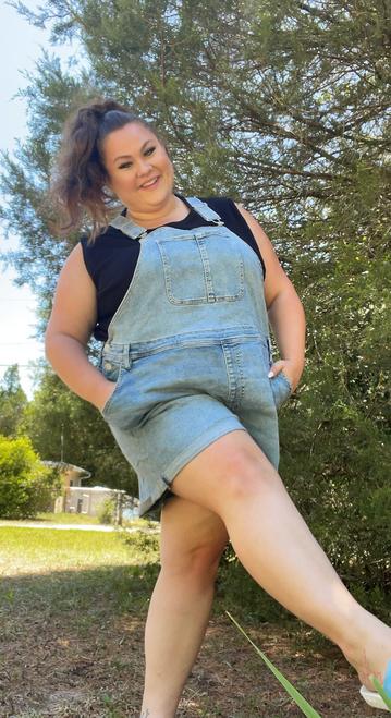 Target Item #81828458 Women's Plus Size Overalls Jean Shorts Shop this item at https://www.target.com/