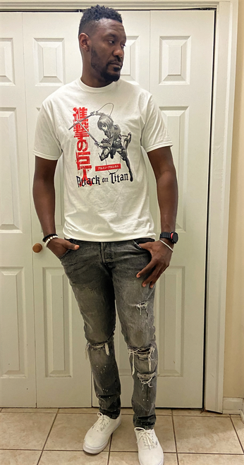 """Target Item #82567665 Men's 'Attack On Titan' Short Sleeve Graphic T-Shirt """"I am 6'4"""" and I have a 41"""" chest. I am 35"""" at the waist and 41"""" around the hips. this graphic t-shirt is soft and light weight and feels very nice on my body. it is a cool and great design and easy to wear with jeans or sweats. i will wear this to the gym or around the house or to run some errands around!. This item does not have pockets. I received an incentive to write this review. Hope it helps you!"""" Shop this item at https://www.target.com/"""