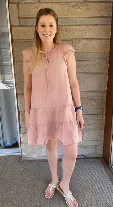 """Store Item #81993435 Women's Flutter Short Sleeve Ruffle Dress """"I am 5'6"""" and I wear a 34C bra size. I am 27"""" at the waist and 37"""" around the hips. I really like this dress! the style is super cute and can flatter any body style. It's also very soft and light weight, perfect for a warmer summer day. The length is also perfect and doesn't deter from the beauty of the dress. This item does not have pockets. I received an incentive to write this review. I hope this helps. Happy shopping!"""" Shop this item at https://www.target.com/"""