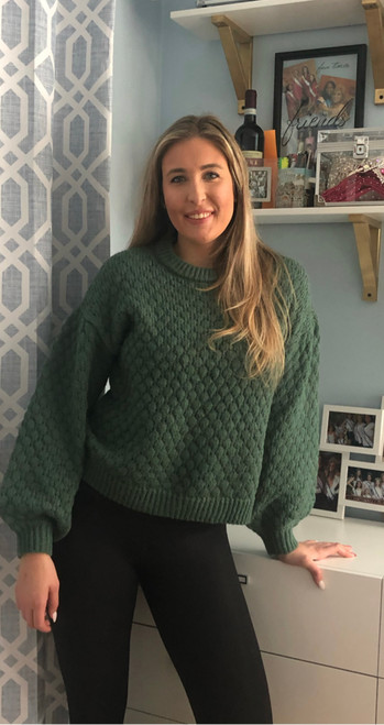"""Store Item #81315705 Women's Crewneck Textured Pullover Sweater """"I am 5'9"""" and I wear a 34B bra size. I am 27"""" at the waist and 38"""" around the hips. This sweater is super comfortable and a very affordable price! I love the sleeves on this, it is super fun. This can be casual and also dressed up for a night out in the winter. Great piece for your wardrobe. This item does not have pockets. I received an incentive to write this review. But this is my honest review. Hope it helps!"""" Shop this item at https://www.target.com/"""