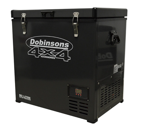 DOBINSONS 4X4 80L DUAL ZONE 12V PORTABLE FRIDGE FREEZER WITH FREE COVER