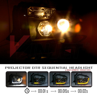 Renegade by Winjet 2014-2019 Toyota Tundra Projector Headlights with LED Switchback Sequential DRL Light Bar - Black/Clear
