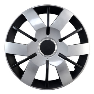 14 inch Universal Silver Lacquer and Black Matte Wheel Cover Set of 4
