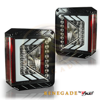 Renegade 2007-2016 Jeep Wrangler LED Tail Lights - (Glossy Black / Clear)