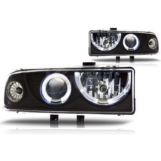 1998-2004 Chevrolet S10 Halo Projector Head Light - Black/Clear