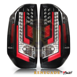 Renegade 2014-2020 Toyota Tundra LED Tail Lights - (Gloss Back / Clear & Red Glow Bar)