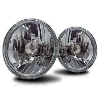 "7"" Round Conversion Head Lights (W/Light Bulb) - Clear"