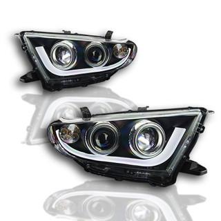 2011-2013 Toyota Highlander Projector DRL Head Lights - (Black / Clear)