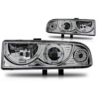 1998-2004 Chevrolet S10 Halo Projector Head Light - Chrome/Clear
