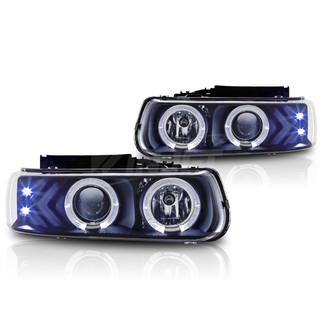 2000-2006 Chevrolet Tahoe Halo Projector Head Light - Black/Clear