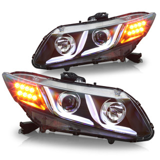 2012-2015 Honda Civic 4Dr DRL One Projecter Head Lights - (Black / Clear)