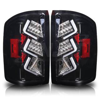 2014-2015 GMC Sierra 1500 LED Tail Light - Gloss Black / Clear