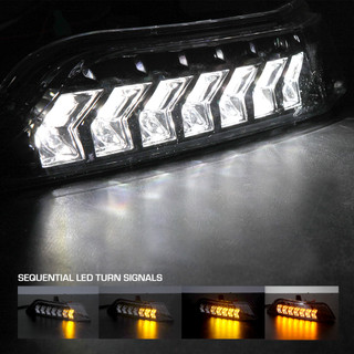 15-17 Ford Mustang (Eco/V6/GT) LED Sequential Switch Back Turn Signals with Position Lights- Glossy Black Clear