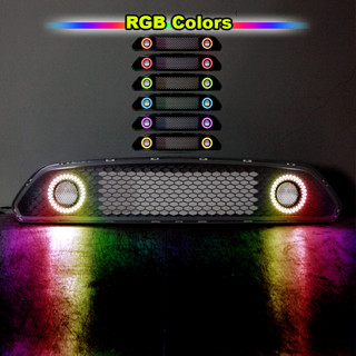 Renegade by Winjet Halo Ring DRL Upper Grille With RGB Color Shift for 2015-2017 Ford Mustang S550 (Eco Boost, V6, & GT)