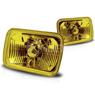 "7"" Rectangular Conversion Head Lights (W/Light Bulb) - Yellow"
