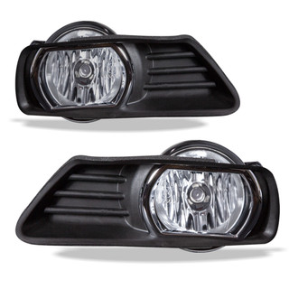 07-09 Toyota Camry Fog Lights Chrome Ring- (Clear) - (Wiring Kit Included)
