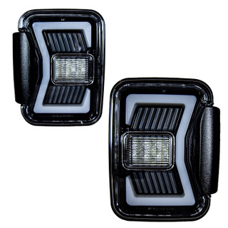 Renegade 2019-2020 Jeep Gladiator JT LED Tail Lights (Gloss Black/Clear)