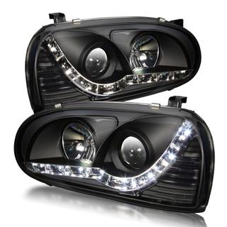 93-98 Volkswagen Golf 3 Daytime Running Head Light - Black / Clear