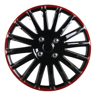 16 inch Universal Black Lacquer and Red Lacquer Wheel Cover Set of 4