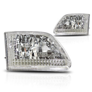 1997-2002 Ford Expedition Euro Head Light - Chrome/Clear