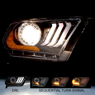 Renegade By Winjet 2010-2014 Ford Mustang 2018 S550 Style LED DRL / Sequential Signals / Projector Headlight Fits Halogen Only