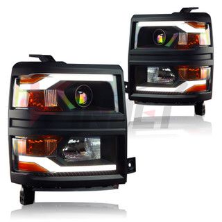 2014-2015 Chevy Silverado LED Projector Head Lights (Black housing / Black Trim / Clear lens)