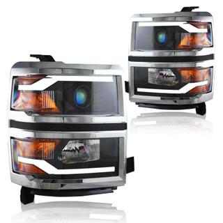 Winjet Truck Series Headlights (Black Housing / Chrome Trim / Clear Lens) for 2014-2015 Chevy Silverado