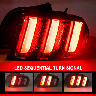 {Renegade Series} 2015-2017 Ford Mustang Euro style performance tail light with sequential turn signal (Glossy black / clear / set)
